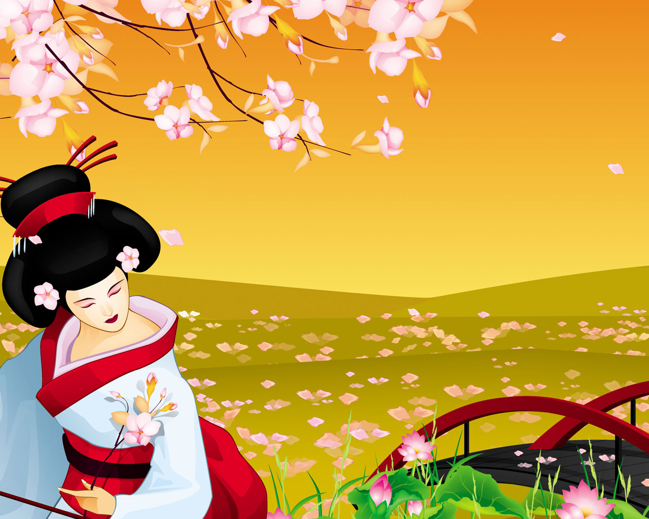 geisha illustration wallpaper image